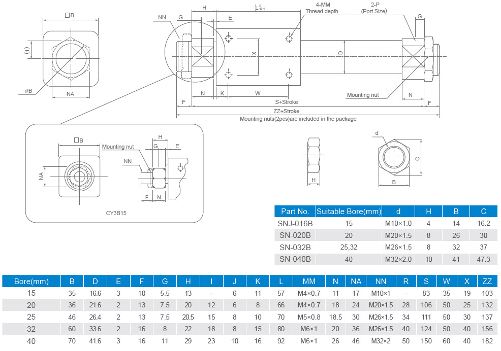 overall dimensions cy3b