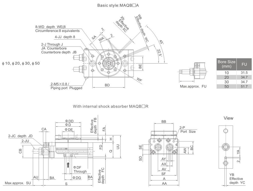 overall dimensions MSQB-20-A